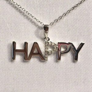 Macy's Diamond And Sterling Silver HAPPY Pendant